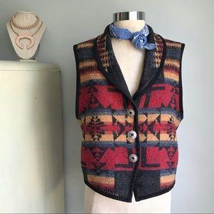 VINTAGE Native Western Pendleton Style Wool Vest